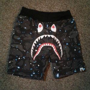BAPE camo space shorts glow in the dark